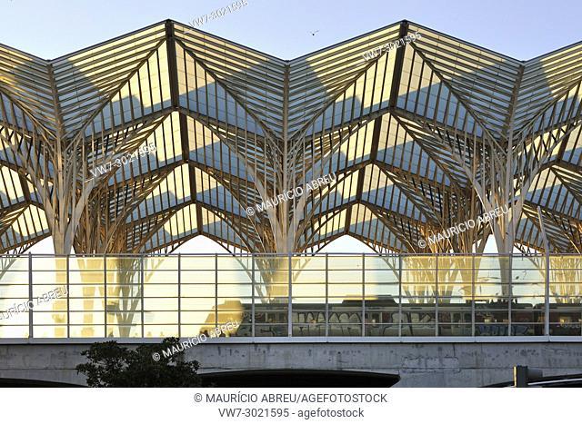 Oriente Station, designed by the architect Santiago Calatrava. Lisbon, Portugal