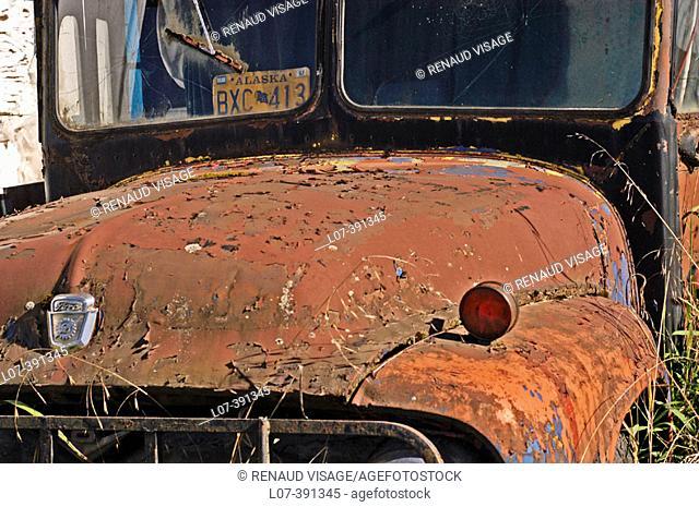 Old rusty bus. Hoonah. Alaska. USA