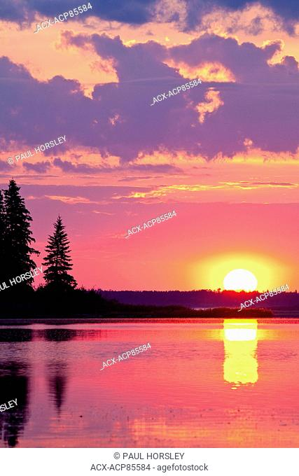 Astotin Lake at sunset Elk Island National Park, Alberta, Canada
