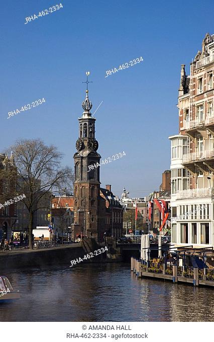 The Munttoren Mint Tower on the Amstel River, Amsterdam, Netherlands, Europe