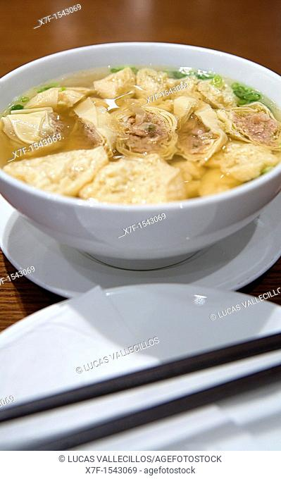 soy rolls stuffed with pork in soup ,restaurant of Mandarin Oriental Hotel,15 Queen's Road Central, Hong Kong, China