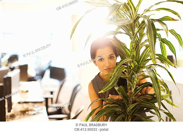 Portrait of businesswoman hiding behind plant in office