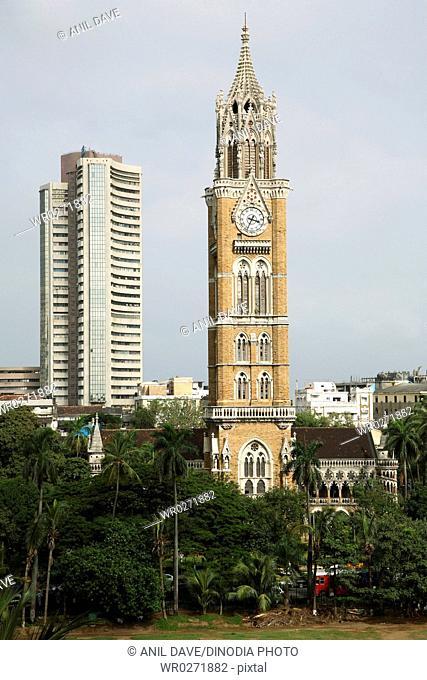 Bombay Stock Exchange and Raja Bai Tower Building at Bombay Mumbai , Maharashtra , India