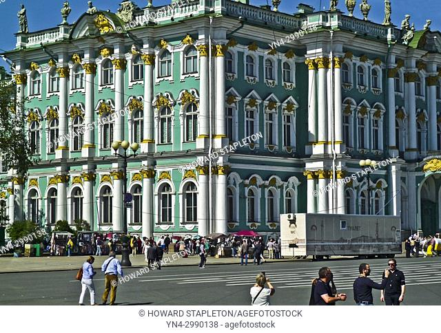 The Winter Palace on Palace Square. St. Petersburg, Russia. The Winter Palace is part of the Hermitage museum