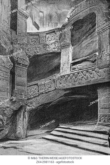 French Indochina Pavilion, Underground room of a Khmer temple, Universal Exhibition 1900 in Paris, Picture from the French weekly newspaper l'Illustration