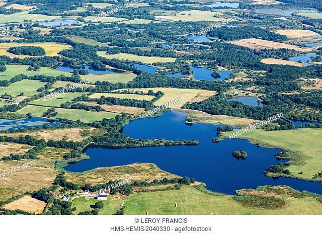France, Indre, Migne, ponds in La Brenne regional park (aerial view)