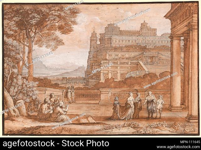 Queen Esther Approaching the Palace of Ahasuerus. Artist: Claude Lorrain (Claude Gellée) (French, Chamagne 1604/5?-1682 Rome); Date: 1658; Medium: Pen and brown...