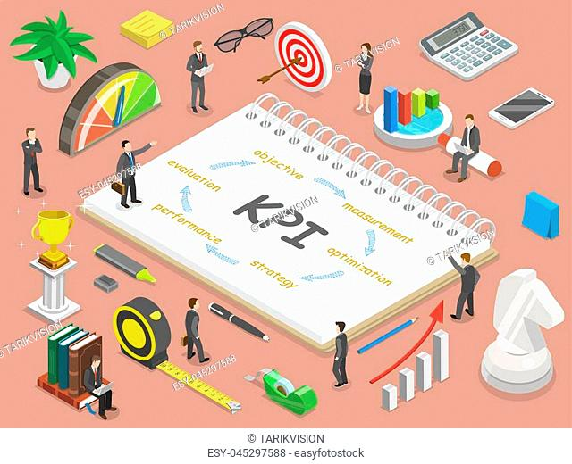 Key performance indicator flat isometric vector concept. Renders major KPI points as following objective, measurement, optimization, strategy, performance