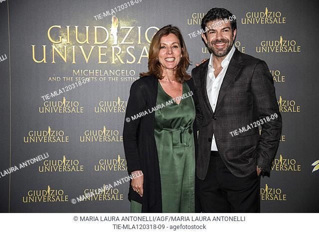 Art historian Barbara Jatta, actor Pierfrancesco Favino during the photocall of Live Show 'Giudizio Universale' Rome,ITALY-12-03-2018
