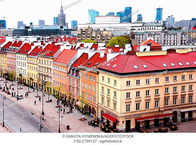 Krakowskie Przedmiescie street - so called Royal Tract, in background Palace of Science and Culture and skyscrapers, Warsaw, Poland, Europe