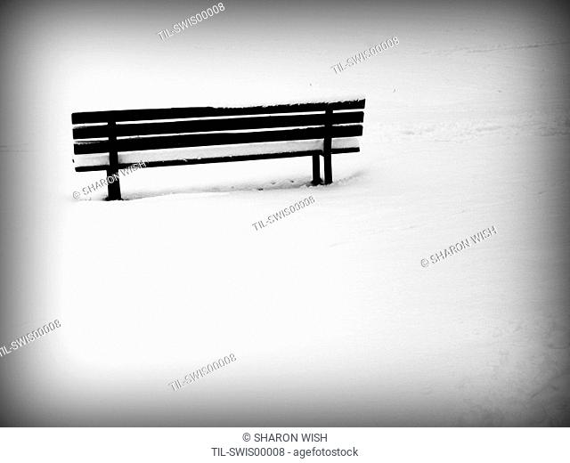 A wooden bench in the snow