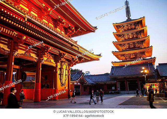Senso-ji Temple,Five Storied Pagoda and Hozo-mon Gate,Asakusa district,Tokyo, Japan, Asia