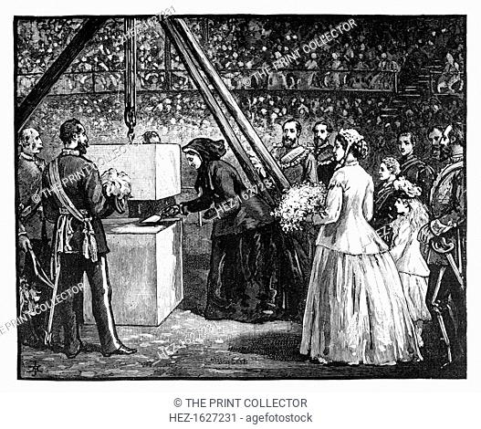 Queen Victoria laying the foundation stone of the Royal Albert Hall, London, 1860s. Illustration from The Life & Times of Queen Victoria, by Robert Wilson