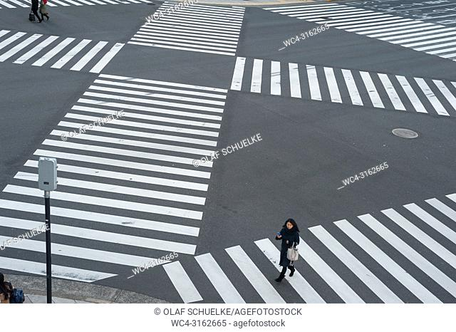 01. 01. 2018, Tokyo, Japan, Asia - A pedestrian crossing in Tokyo's Ginza district