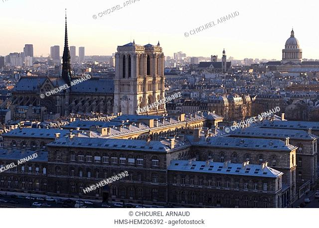 France, Paris, Notre Dame cathedral and the Pantheon