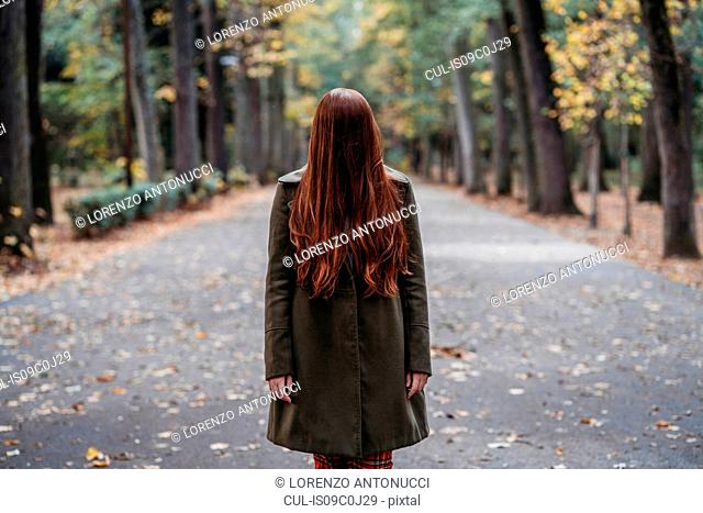 Young woman with long red hair covering her face in autumn park, portrait