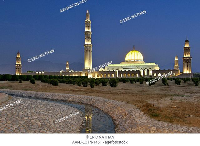 Dusk view of the Sultan Qaboos Grand Mosque in Muscat, the capital of Oman
