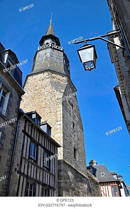 Tour de l' Horloge, the clock tower, in the ancient french town of Dinan in Brittany
