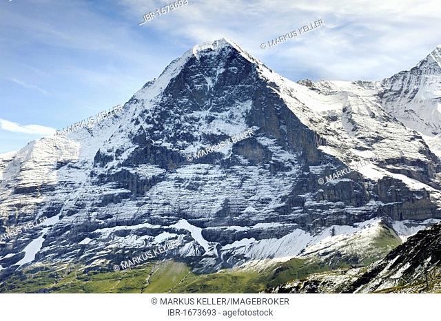 North face of the 3970 metre high Eiger Mountain seen from the south, Canton of Bern, Switzerland, Europe