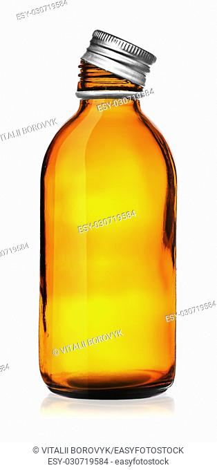 Medical bottle with cover removed isolated on white background