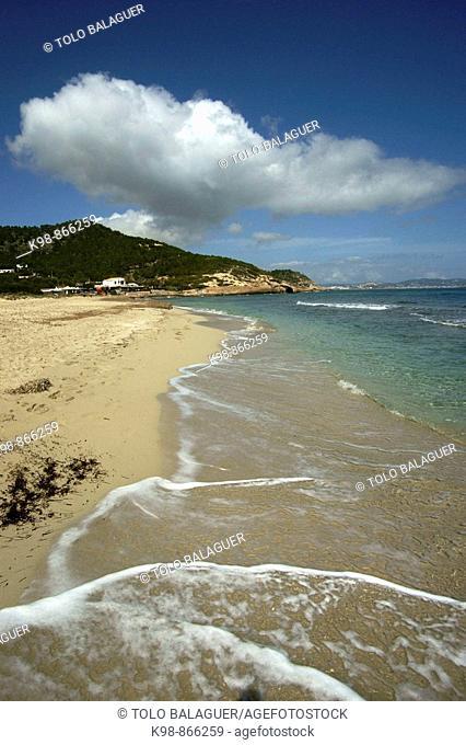 Platja des Cavallet beach, Ses Salines Natural Park, Ibiza. Balearic Islands, Spain