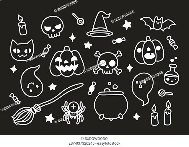 Halloween hand drawn doodle set with cute cartoon objects and symbols on dark background