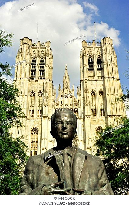 King Baudouin Statue & St. Michael and St. Gudula Cathedral Brussels, Belgium