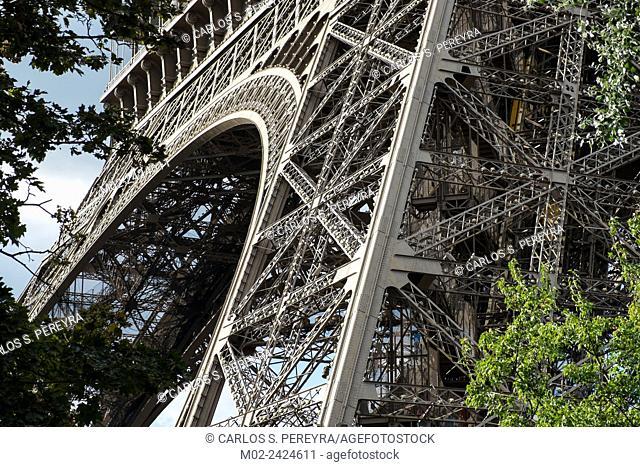 view of Eiffel Tower in Paris. La Tour Eiffel, France