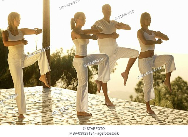 Group, Tai Chi practice, clothing white, outside, morning-mood, full-length