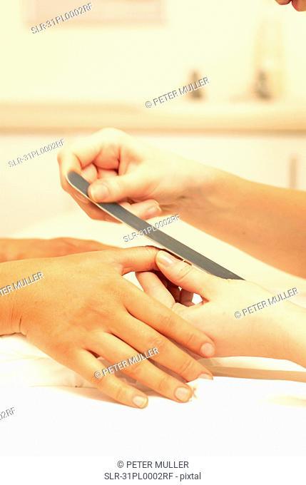 Close up of manicure