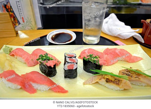 Assorted tuna sushi at restaurant. Tsukiji Outer Market, known as the Jogai Shijo, Tokyo