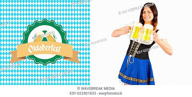 Composite image of pretty oktoberfest girl holding beer tankards