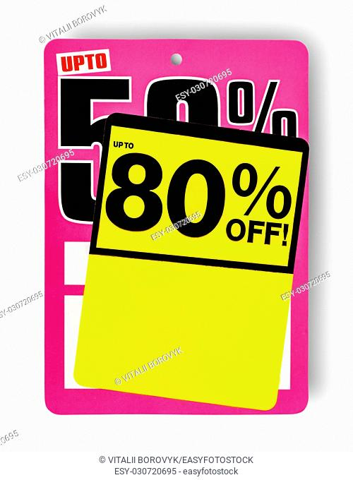 Pink and yellow Super Sale sign isolated on white background