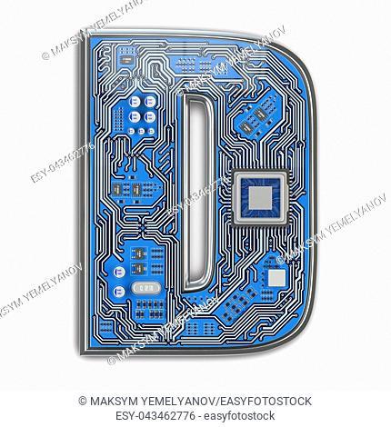 Letter D. Alphabet in circuit board style. Digital hi-tech letter isolated on white. 3d illustration