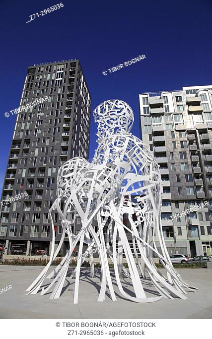 Canada, Quebec, Montreal, Source, sculpture by Jaume Plensa,