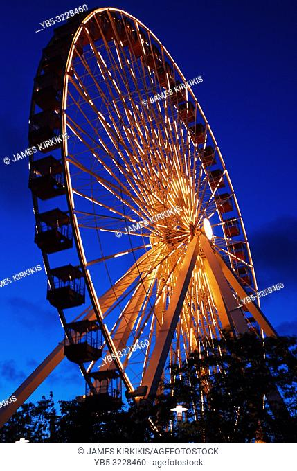 The Navy Pier Ferris wheel glows at dusk