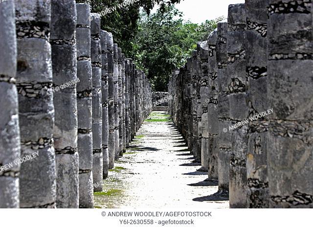 Stone columns Chichen Itza Yucatan Mexico