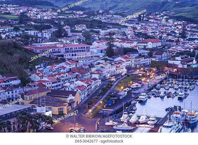 Portugal, Azores, Faial Island, Horta, elevated town view from Monte Quelmado, evening