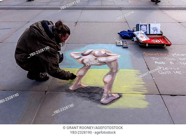 Street Artist, Trafalgar Square, London, England