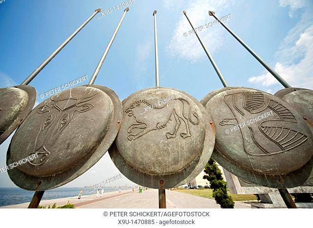 Lance and shield with animal symbols at the monument of Alexander the Great in Thessaloniki, Macedonia, Greece