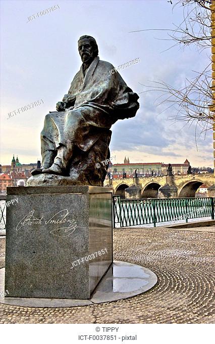Czech Republic, Prague, statue of Bedrich Smetana near Vltava river