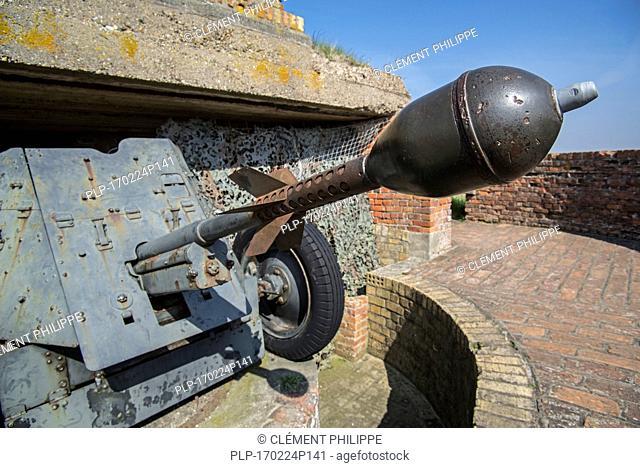 Pak 36 / Panzerabwehrkanone 36 with Stielgranate 41, German anti-tank gun at Raversyde Atlantikwall / Atlantic Wall museum at Raversijde, Belgium