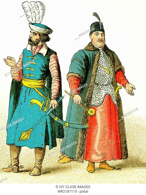 The Slavonic figures pictured here date to 1500. They represent, from left to right: a Hungarian chief and a Polish grandee