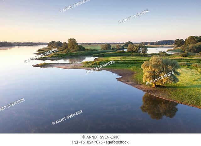 UNESCO Elbe River Landscape biosphere reserve in summer, Lower Saxony, Germany