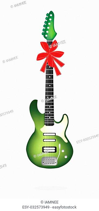 Single Green Electric Guitar with Red Ribbon and Bow, A Perfect Gift or Present for Someone Special