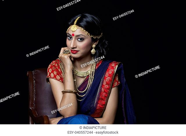 Portrait of a beautiful bride with jewelery