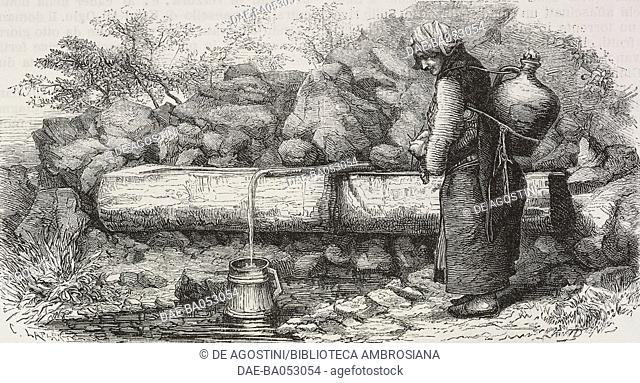 Greek peasant at a fountain in the Trabzon mountains, Turkey, drawing from Travels in Lazistan and in Armenia, 1869, by Theophile-Louis Deyrolle (1844-1923)