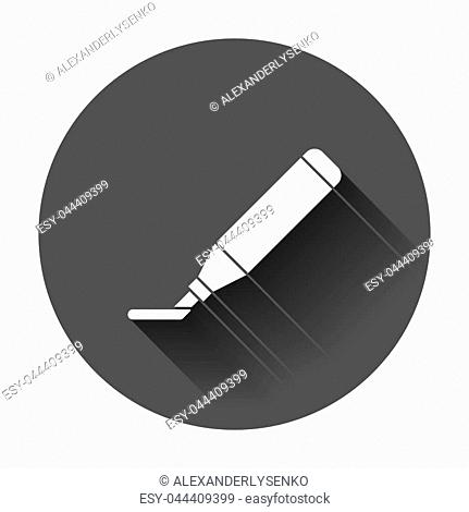 Highlighter marker pen icon in flat style. Highlight illustration with long shadow. Office stationery concept