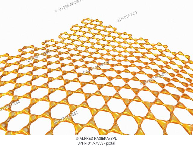 Graphene sheet. Illustration of the atomic-scale molecular structure of graphene, a single layer of graphite. It is composed of hexagonally arranged carbon...