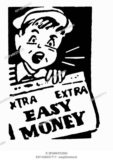 A black and white version of a young newspaper boy holding a newspaper that reads Easy Money